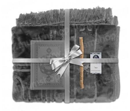 Coffret Pack Cadeau Gris pour Homme ou Femme : Tapis épais molletonné Gris / Coran arabe-français avec phonétique avec couverture cuir / Parfum et Miswak