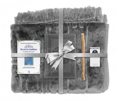 Coffret Pack Cadeau Gris pour Homme ou Femme : Tapis épais molletonné Gris / Coran arabe-français avec phonétique couverture cuir Gris / Riyad Es-Salihine / Parfum et Miswak