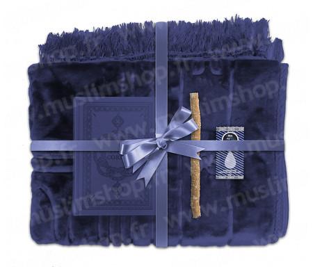 Coffret Pack Cadeau Marron pour Homme : Tapis épais molletonné Bleu / Coran arabe-français avec phonétique et couverture cuir Bleu / Parfum et Miswak