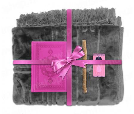 Coffret Pack Cadeau Gris et Rose pour Femme : Tapis épais molletonné Gris / Coran arabe-français avec phonétique avec couverture cuir Rose / Parfum et Miswak