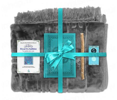 Coffret Pack Cadeau Gris et Turquoise pour Homme ou Femme : Tapis épais molletonné Gris / Coran arabe-français avec phonétique couverture cuir Turquoise / Riyad Es-Salihine / Parfum et Miswak