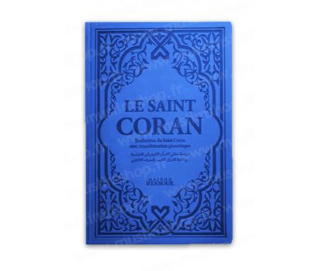 Le Saint Coran Bleu avec Couverture Daim et pages Arc-En-Ciel (Rainbow) / Français-Arabe-Phonétique