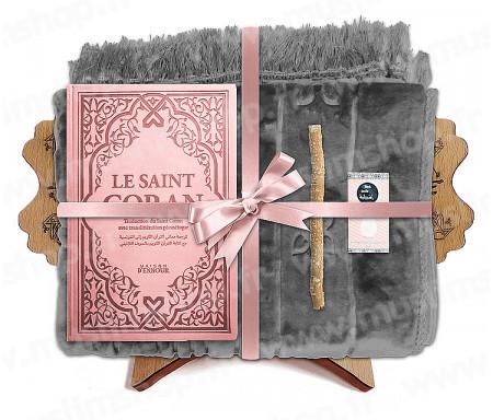 Coffret Pack Cadeau Gris et Rose pour Femme : Tapis épais molletonné Gris / Coran Rainbow arabe-français avec phonétique avec couverture cuir Mauve / Parfum / Miswak et Porte Coran