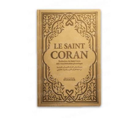 Le Saint Coran Doré avec Couverture Daim et pages Arc-En-Ciel (Rainbow) / Français-Arabe-Phonétique
