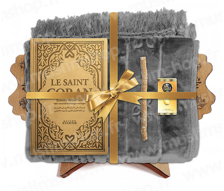 Coffret Pack Cadeau Gris et Doré pour Femme : Tapis épais molletonné Gris / Coran Rainbow arabe-français avec phonétique avec couverture cuir Mauve / Parfum / Miswak et Porte Coran