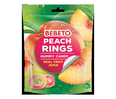 Bonbons Halal Peach Rings (Anneaux de Pèche) Gummy avec du vrai Jus de Fruit - Bebeto - Sachet 150gr