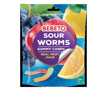 Bonbons Halal Sour Worms (Vers de terre) - Fabriqué avec du vrai Jus de Fruit - Sachet 150gr