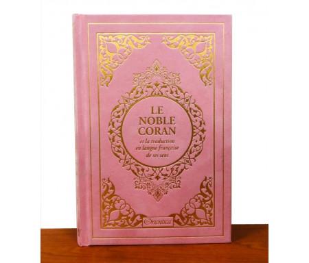 Le Noble Coran et la traduction en langue française de ses sens (bilingue français / arabe) - Edition de luxe couverture cartonnée en daim rose clair dorée