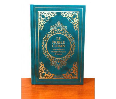 Le Noble Coran et la traduction en langue française de ses sens (bilingue français / arabe) - Edition de luxe couverture cartonnée en daim couleur Bleu Caraïbes dorée