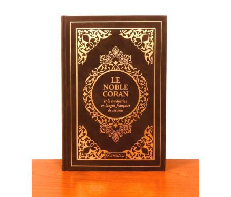 Le Noble Coran et la traduction en langue française de ses sens (bilingue français / arabe) - Edition de luxe couverture cartonnée en daim couleur Café (marron) dorée