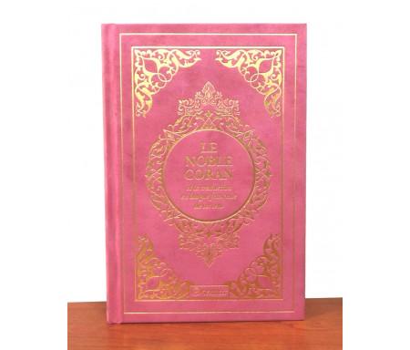 Le Noble Coran et la traduction en langue française de ses sens (bilingue français / arabe) - Edition de luxe couverture cartonnée en daim couleur corail dorée