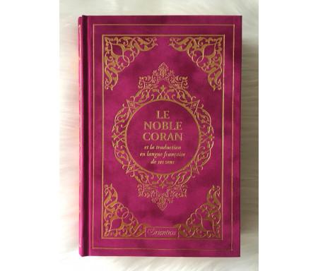 Le Noble Coran et la traduction en langue française de ses sens (bilingue français / arabe) - Edition de luxe couverture cartonnée en daim couleur Fuchsia dorée