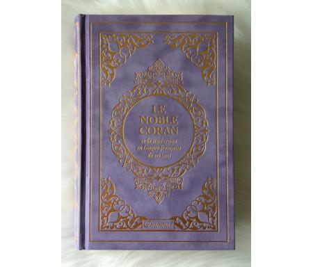 Le Noble Coran et la traduction en langue française de ses sens (bilingue français / arabe) - Edition de luxe couverture cartonnée en daim couleur Mauve dorée