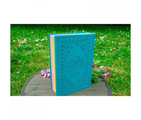 Le Noble Coran et la traduction en langue française de ses sens (Arabe-Français) avec Pages Arc-en-Ciel (Bleu)