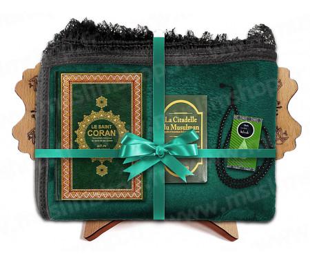 Coffret Pack Cadeau Mixte : Tapis épais molletonné Vert / Coran Arabe-français et couverture cuir / Parfum et Chapelet