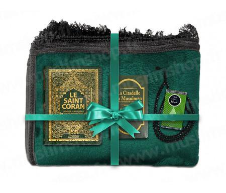 Coffret Pack Cadeau Mixte : Tapis épais molletonné Vert / Coran Arabe-français avec phonétique et couverture cuir / Parfum et Chapelet