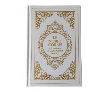 Le Noble Coran bilingue français/arabe avec index des sourates sur le côté - Edition de luxe couverture cartonnée en cuir couleur Blanc doré