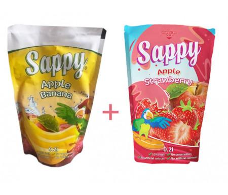 Boisson Pomme Fraise Sappy aux fruits et Vitamines 20cl x 8 (sans Sucre ajouté, colorant ni conservateurs)