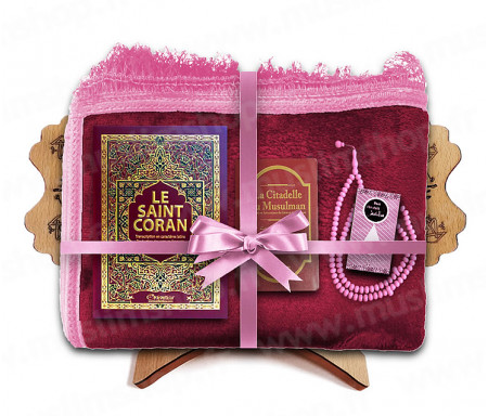 Coffret Pack Cadeau pour Femme : Tapis épais molletonné Grenat / Coran Arabe-français avec phonétique et couverture Rigide cuir / La Citadelle du Musulman / Parfum / Porte-Coran et Chapelet