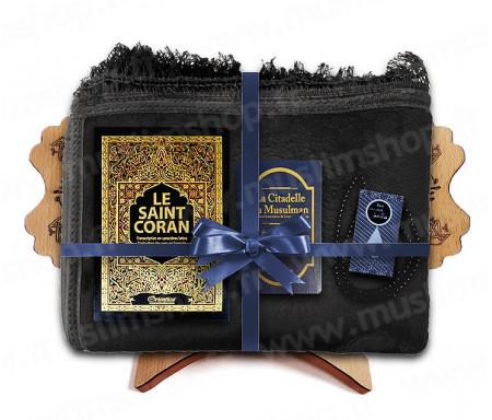 Coffret Pack Cadeau pour Homme : Tapis épais molletonné Noir / Coran Arabe-français avec phonétique et couverture Rigide cuir / La Citadelle du Musulman / Parfum / Porte-Coran et Chapelet