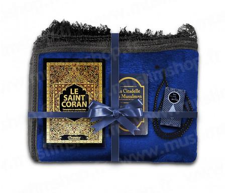 Coffret Pack Cadeau pour Homme : Tapis épais molletonné Noir / Coran Arabe-français avec phonétique et couverture Rigide cuir / La Citadelle du Musulman / Parfum et Chapelet