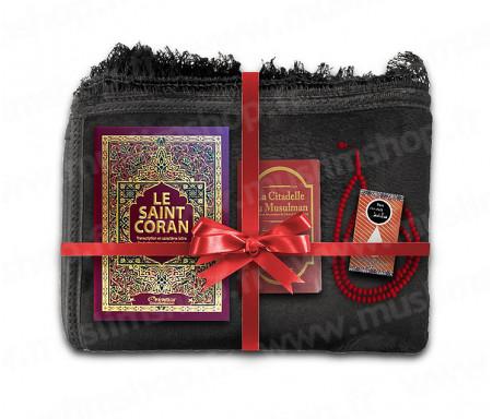 Coffret Pack Cadeau Mixte : Tapis épais molletonné Noir / Coran Arabe-français avec phonétique et couverture Rigide cuir / La Citadelle du Musulman / Parfum / Porte-Coran et Chapelet
