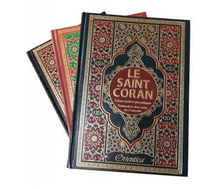Le Saint Coran en langue arabe + Transcription (phonétique) et Traduction des sens en français - Edition de luxe (Couverture en cuir dorée) - Très grand format
