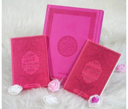 Coffret / Pack Cadeau Rose : Le Saint Coran , Chapitre Amma (Jouz' 'Ammâ) et La citadelle du musulman - Cadeaux pour femme musulmane