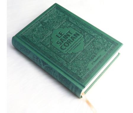 Le Saint Coran en arabe avec transcription phonétique et Traduction des sens en français - Edition de luxe (Couverture cuir de couleur Vert sapin)