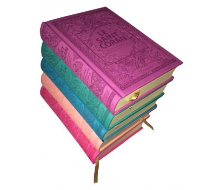 Pack de 5 Corans de luxe en 5 couleurs différentes - Le Saint Coran (français - arabe - phonétique) - Couverture simili-cuir (Mauve, Vert, Bleu, Rose pâle, Rose)