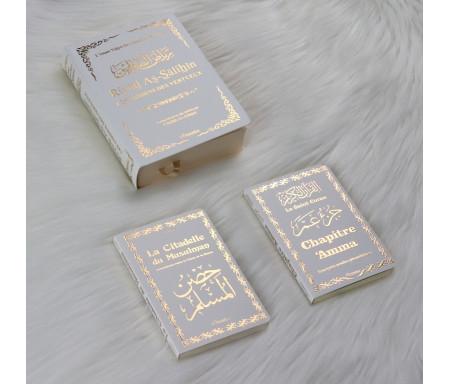 Pack Cadeau : Livres bilingues français/arabe Blanc Doré : Riyad As-Salihîn (Les Jardins des Vertueux), Chapitre 'Amma et La Citadelle du Musulman
