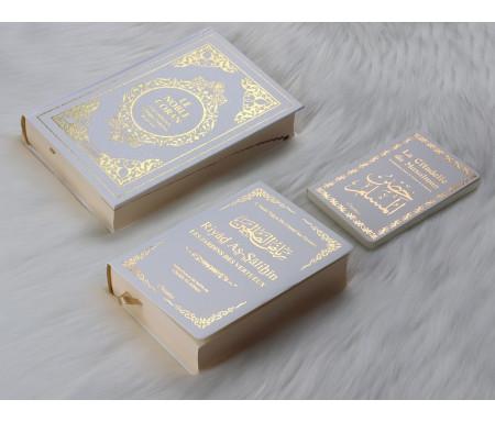 Pack Cadeau : Livres bilingues français/arabe Blanc Doré : Le Noble Coran, Riyad As-Salihîn (Le Jardin des Vertueux), La Citadelle du Musulman