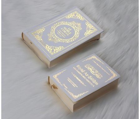 Pack Cadeau : Livres bilingues français/arabe Blanc Doré : Le Noble Coran et Riyad As-Salihîne (Les Jardins des Vertueux)