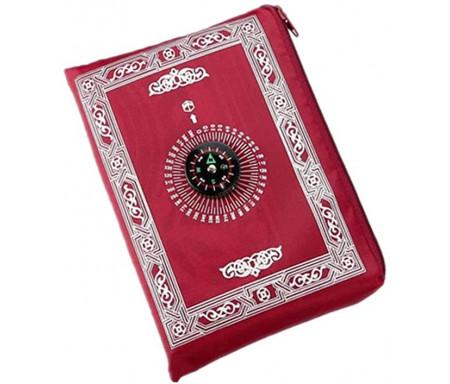 Tapis avec Boussole de poche pliable et transportable avec son étui - Couleur Bordeaux