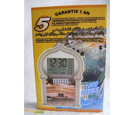 Horloge avec 5 Appels à la Prière différents pour 1000 villes