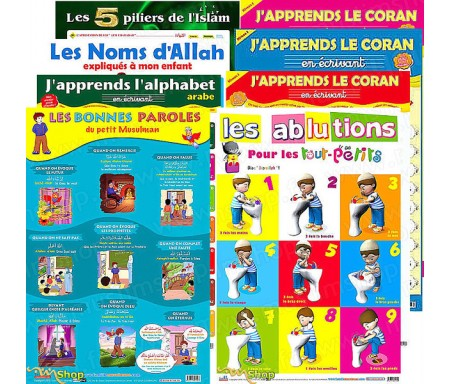 Pack 8 Poster - J'apprends le Coran et l'Alphabet + L'Education Spirituelle des Enfants