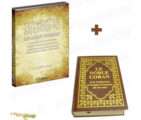 Pack Livre + 2 CD MP3 : Coran Complet Bilingue (Arabe / Français)