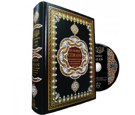 Le Noble Coran, La traduction en Langue Française et la Phonétique + CD de récitation - Noir (couverture reliée cuir)