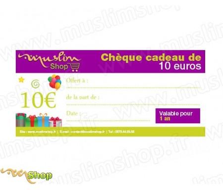Chèque Cadeau d'une valeur de 10€