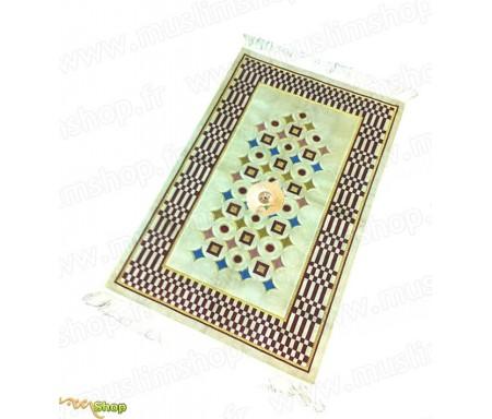 Tapis de Prière Adulte avec boussole Velours Beige doré (6 coloris)