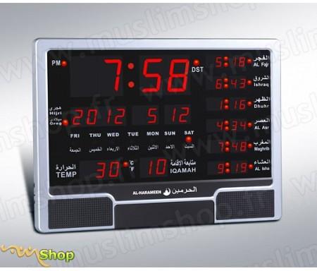 Horloge avec calcul automatique des horaires des prières (adhan pour les cinq prières) HA-4003