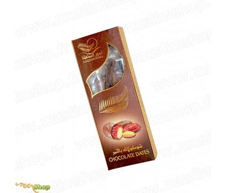Dattes enrobées de chocolat fourrées d'amande