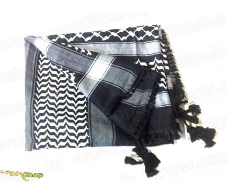 Grand foulard Palestinien (Keffieh) de couleur Dominante Noir et Blanc