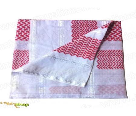 Grand foulard Palestinien (Keffieh) de couleur Rouge et Blanc