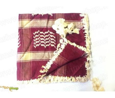 Grand foulard Palestinien (Keffieh) de couleur Grenat
