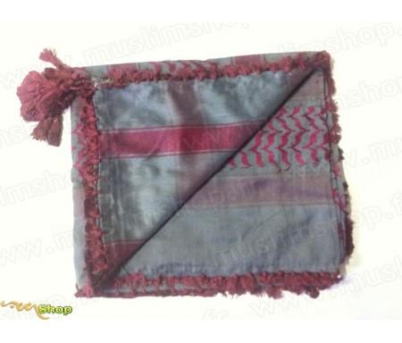 Grand foulard Palestinien (Keffieh) de couleur Gris et Rouge