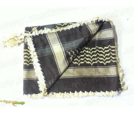 Grand foulard Palestinien (Keffieh) de couleur Gris et Beige