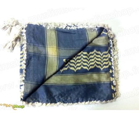 Grand foulard Palestinien (Keffieh) de couleur Bleu et Jaune