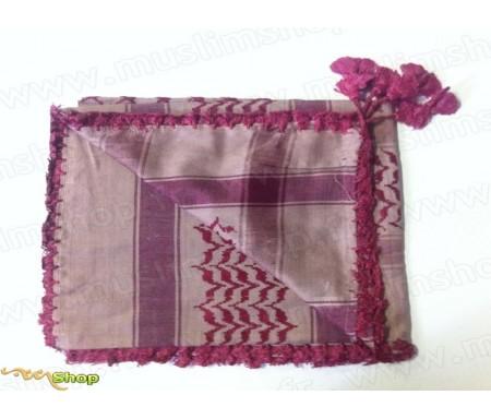 Grand foulard Palestinien (Keffieh) de couleur Rose Pâle