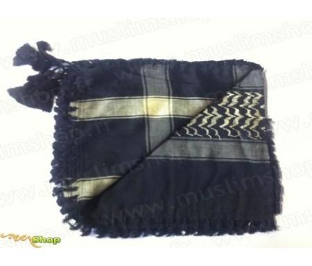 Grand foulard Palestinien (Keffieh) de couleur Noir et beige